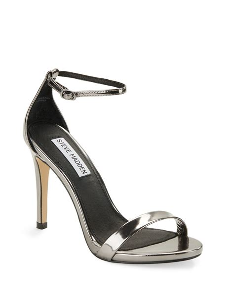 steve madden strappy sandals steve madden stecy strappy sandals in metallic lyst