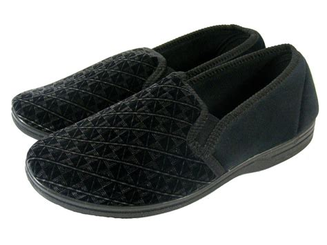 mens slippers size 14 uk mens black luxury patterned backed comfy gusset