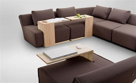 couch and table functional modular sofa with modifiable wooden tables