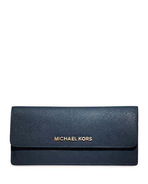 Michael Kors Travel Wallet Navy michael michael kors jet set travel flat wallet in blue navy lyst