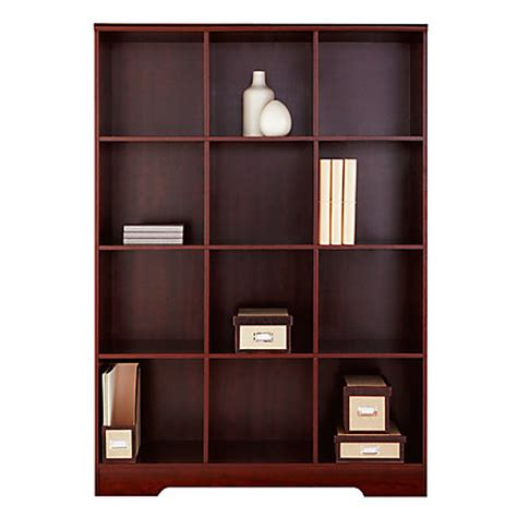 realspace magellan 12 cube bookcase classic cherry by