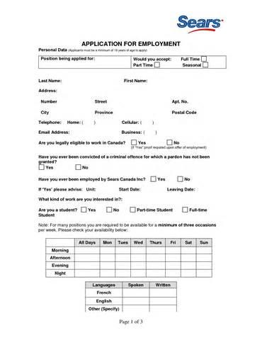 Resume Sears Application Sears Employment Application By Crislapuz Ceagm