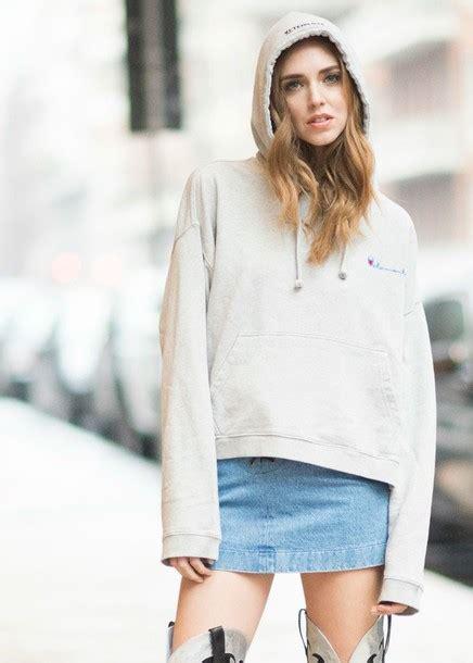 chiara ferragni hoodie top chion hoodie grey hoodie skirt mini skirt