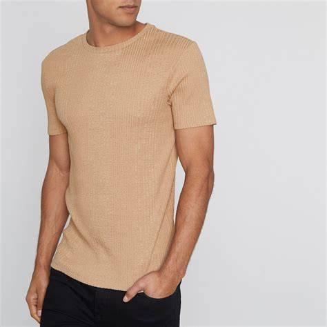 bright color shirts light brown ribbed fit t shirt t shirts vests