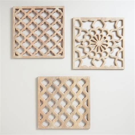 Panel Wood Rushteriosnew Set nathan carved wood wall panels set of 3 world market