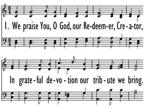 printable lyrics every praise is to our god we praise you o god our redeemer baptist hymnal 2008
