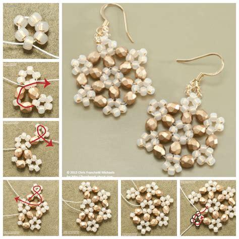 Homemade Decorations For Home creative ideas diy beaded snowflake earrings