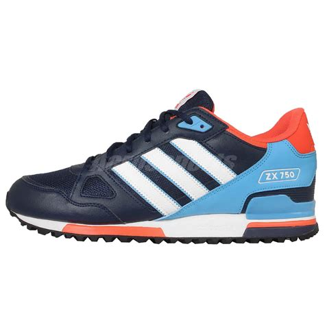 Adidas Zx750 Blue Made In adidas originals zx 750 navy blue orange mens casual shoes