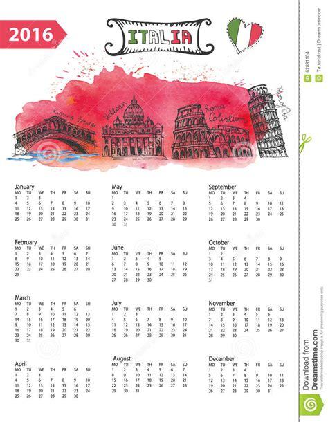 doodle calendar 2016 calendar 2016 italy landmarks panorama watercolor stock