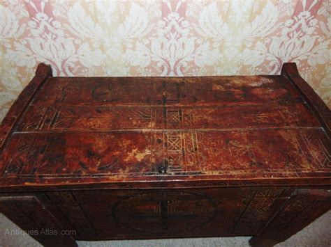 beautiful painted 19th century coffer dowry chest