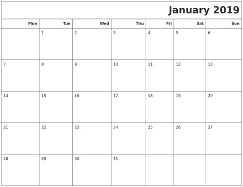 printable calendar monday start january 2019 calendars to print