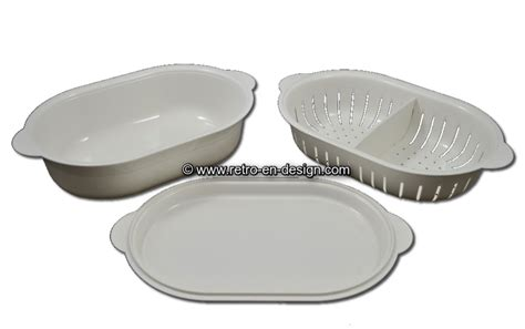 Tupperware Lotus Platter vintage tupperware oval serving tray with colander