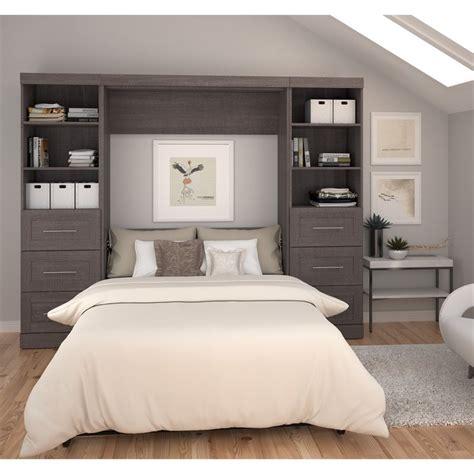 full wall bed bestar pur 109 quot full wall bed in bark gray 26894 47
