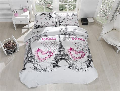 eiffel tower bed set 100 cotton 4pcs paris eiffel tower queen double quilt duvet cover bedding set ebay
