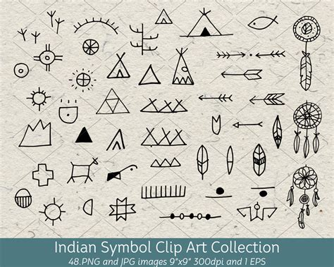 hand drawn doodle native american indian symbol clip art
