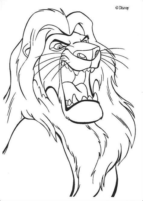 lion king mufasa coloring pages mufasa roars coloring pages hellokids com