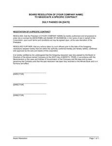 Negotiation Contract Template by Board Resolution To Negotiate A Specific Contract
