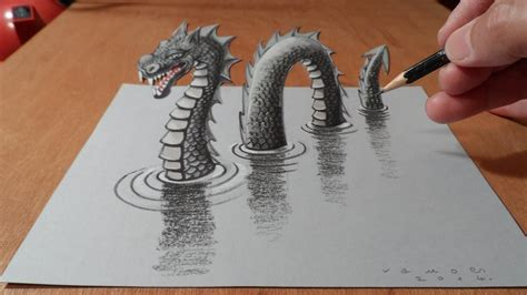 how i drew a 3d loch ness monster youtube
