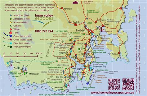 printable map hobart map of southern tasmania accommodation attractions and