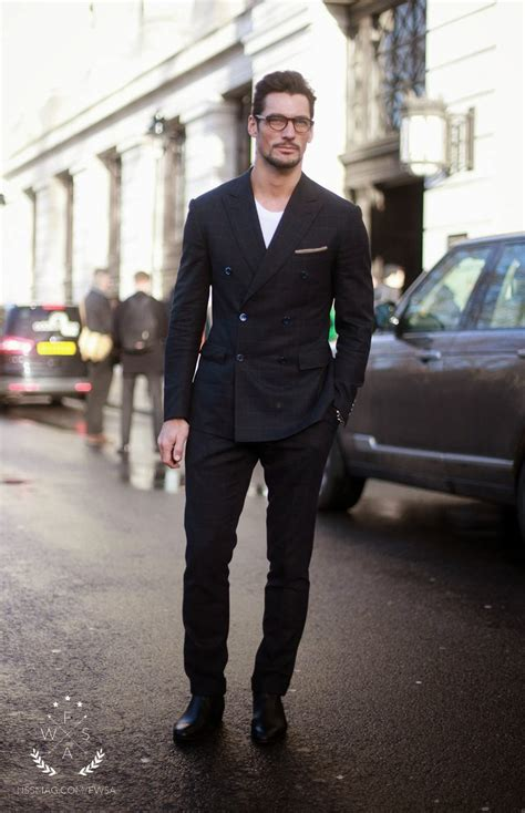 black suit for woman with chelsea boots filippa k bergen david gandy wearing black check suit white crew neck t