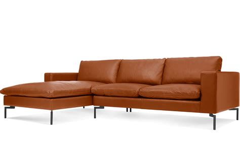 New Leather Sofas New Standard Leather Sofa With Chaise Hivemodern