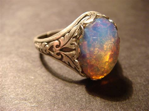 style opal antique silver ring adjustable