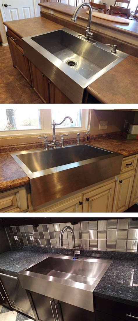 one piece kitchen sink and countertop kohler vault drop in farmhouse apron front stainless steel