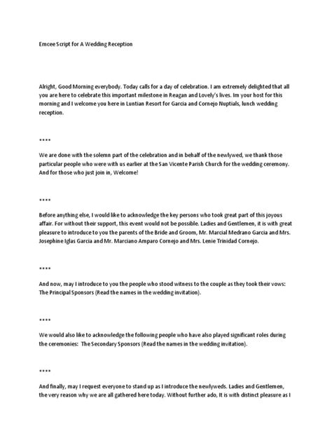 Wedding Ceremony Emcee Script by Emcee Script For A Wedding Reception
