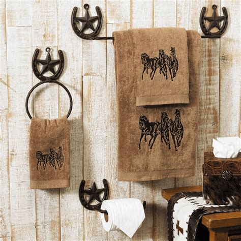 horse bathroom set running horse towel set mocha
