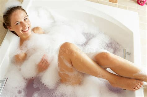 relaxing in filled bath stock photo image