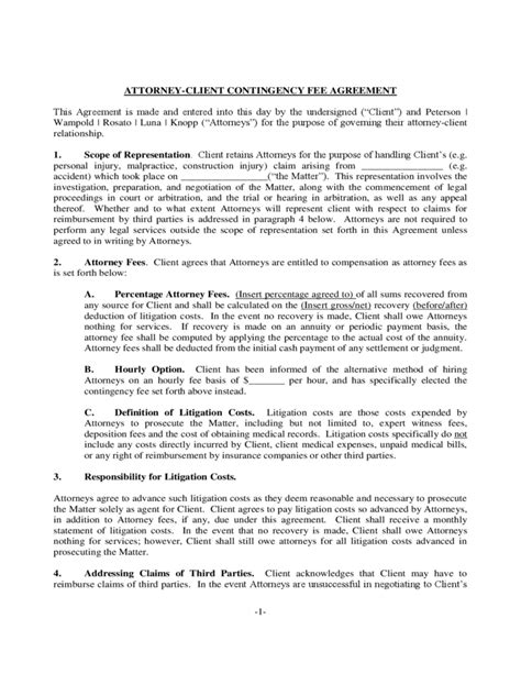 contingency fee agreement template attorney client contingency fee agreement free
