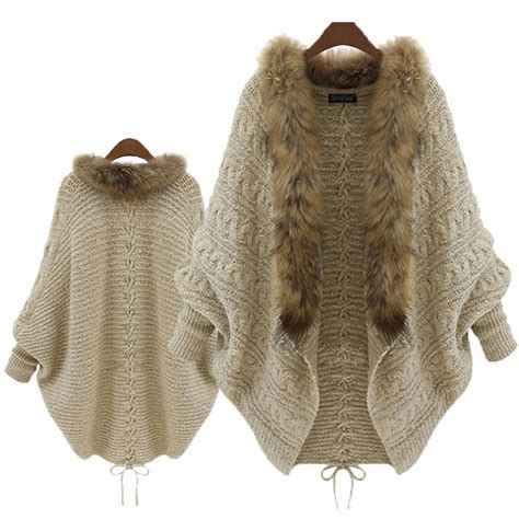 Cardigan Pull And fur collar winter cardigan pull femme batwing poncho outerwear tricot sweater knitted new