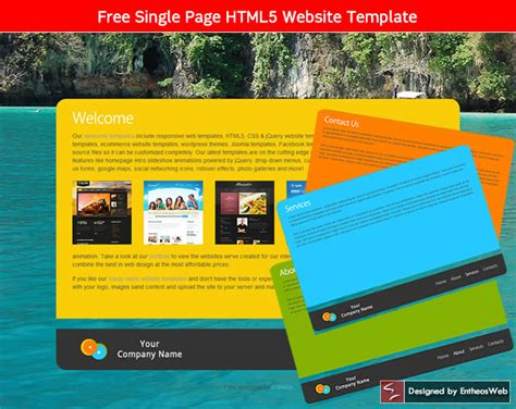 html5 template one page free html5 and css3 website templates entheos