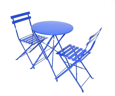 Folding Bistro Table And Chairs Set Blue Metal Folding Bistro Chair Table Set For Hire Be Event Hire