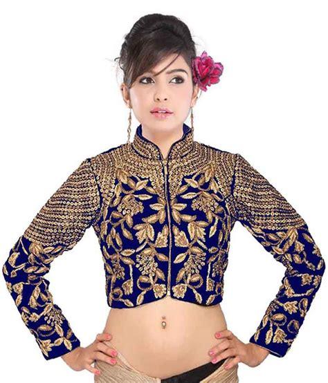 design jacket blouse drapme high neck blue velvet jacket designer blouse buy