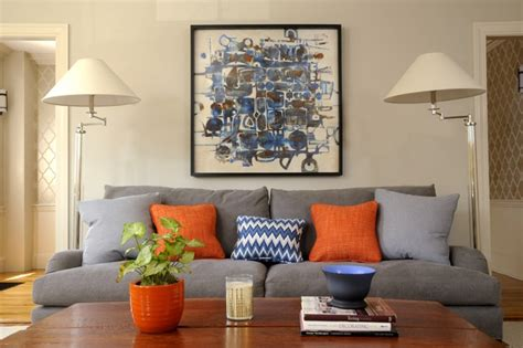 Grey Blue Orange Living Room by Newburyport Condo Transitional Living Room Boston