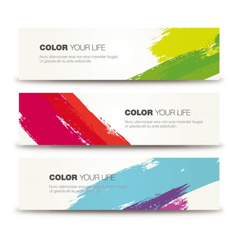 color brushes ink banner vector free vector graphic