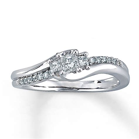 White Gold Engagement Rings by Engagement Ring 1 3 Ct Tw Princess Cut 10k