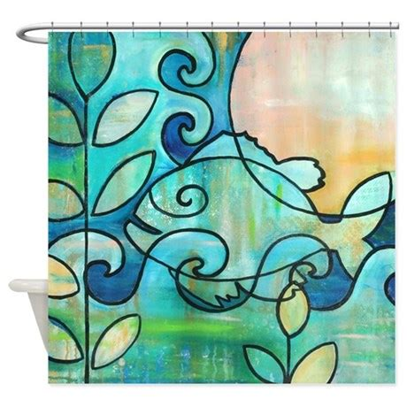 fishing themed shower curtains sun fish beach water blue green shower curtain by deltamisc