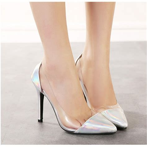 high heels clear holographic silver clear pvc high heel court shoes