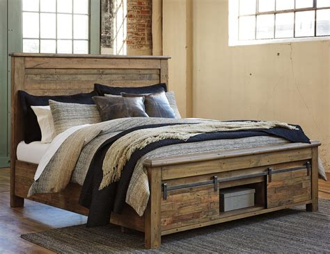 king panel storage bed  barn doors  signature design  ashley wolf furniture