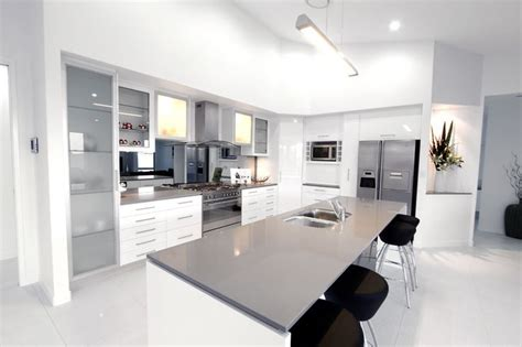 white kitchens grey bench tops urban benchtop with white cupboards caesarstone