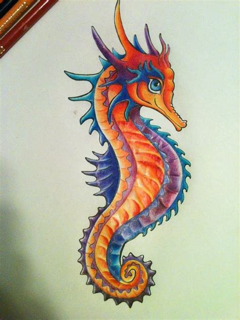 colorful drawings seahorse drawing colorful