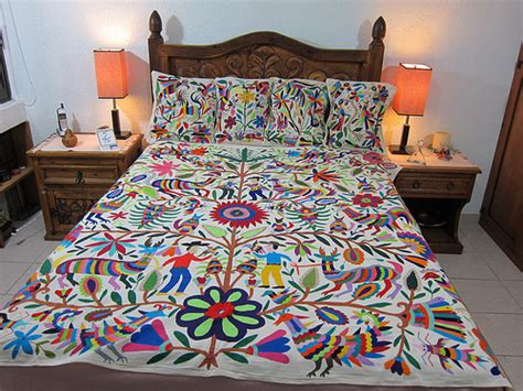mexican embroidered bedding mexican patterns otomi fabric and textiles for home