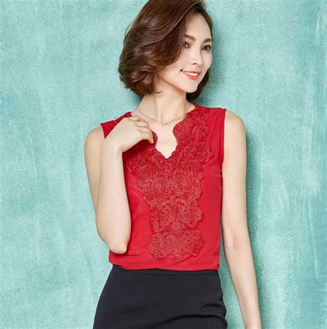 T3719 Blouse Import Korea 100 No Replika blouse korea brokat variasi katun warna merah tanpa lengan