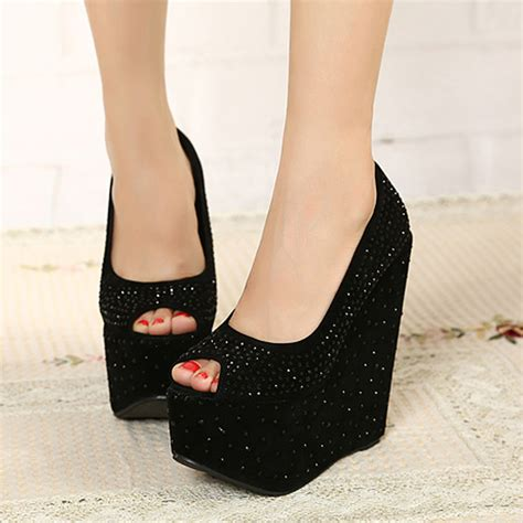 cheap rhinestone high heeled platform wedges high