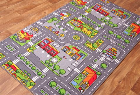 town play rug children s rugs town road map city rug play mat ebay
