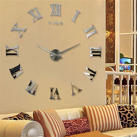 decoration home decor large art diy 3d wall clock design diy large 3d wall clock mirror sticker metal watches roman