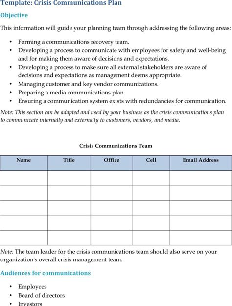 download crisis communication plan templates for free