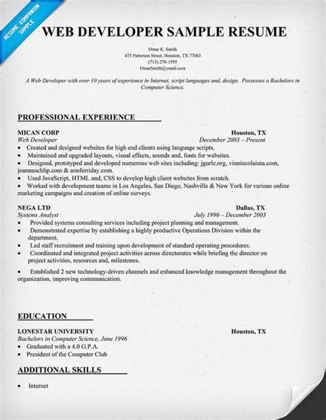web developer resume sle 28 images banquet server